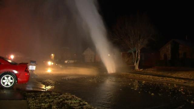WEB EXTRA: Video Of Tulsa Water Line Break Geyser