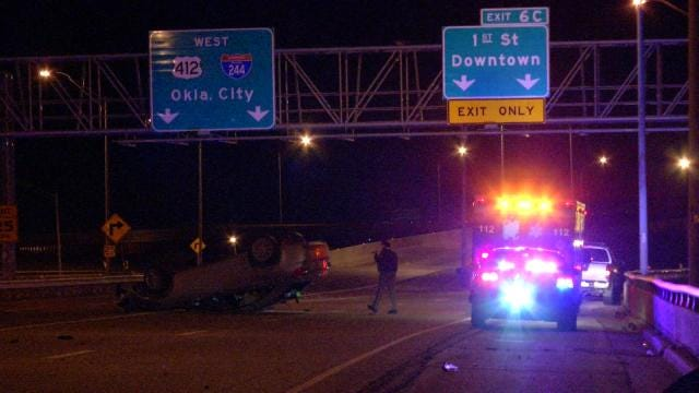 WEB EXTRA: Rollover Wreck On I-244 In Tulsa