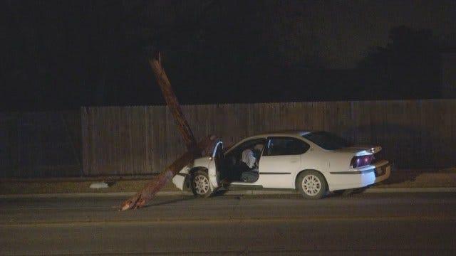 WEB EXTRA: Teenage Driver Takes Out Tulsa Light Pole