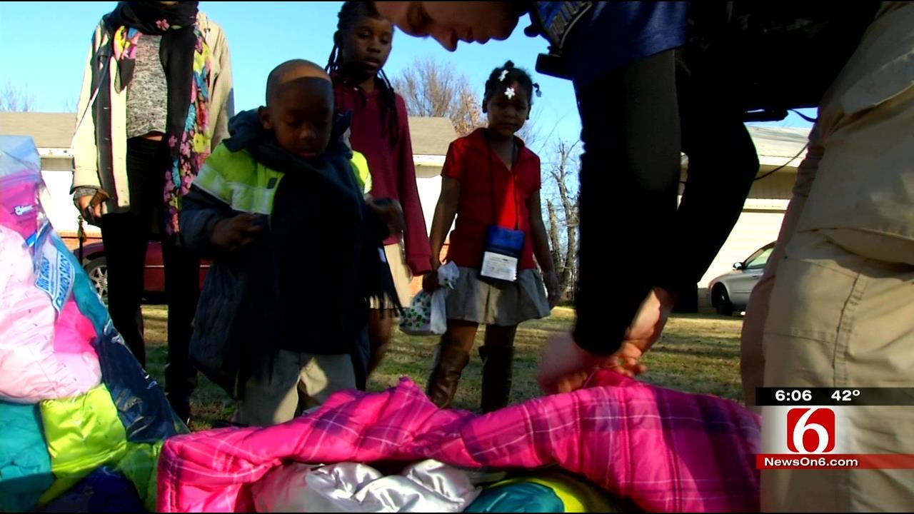 Tulsa Police Bring Coats To Those In Need