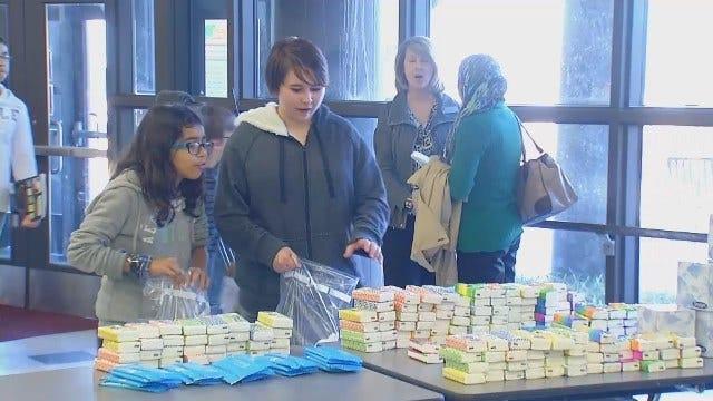 WEB EXTRA: Video Of Tulsa Union Students Preparing Red Cross 'Comfort Kits'