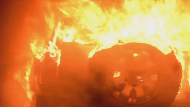 WEB EXTRA: Two Vehicles Burn Near Cain's Ballroom In Tulsa
