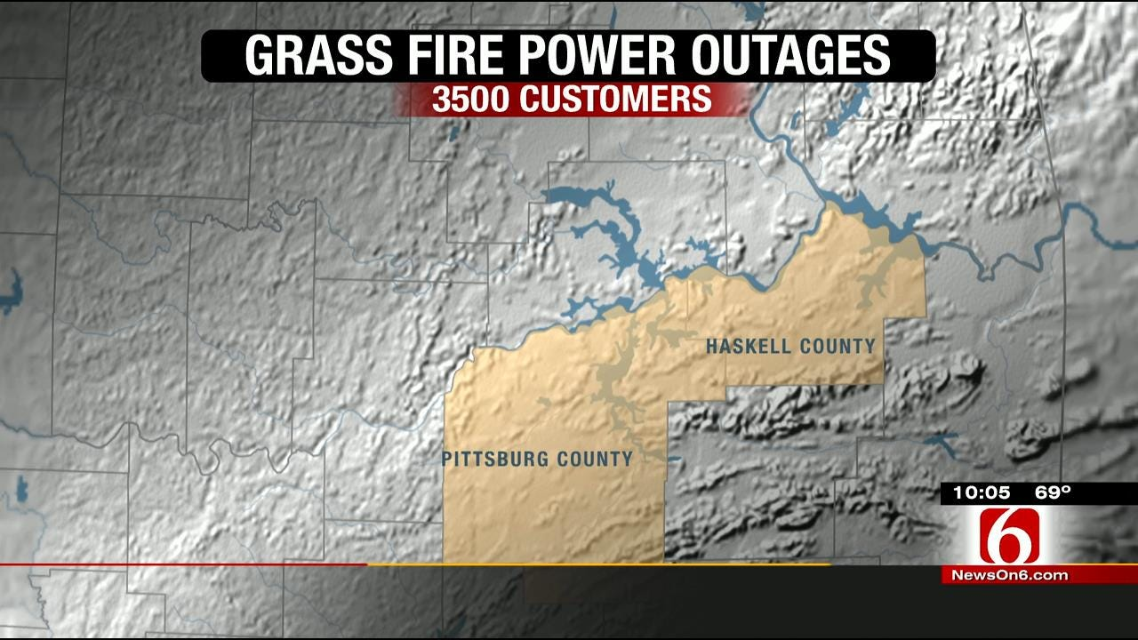 Southeastern Oklahoma Grass Fire Affects Power Lines