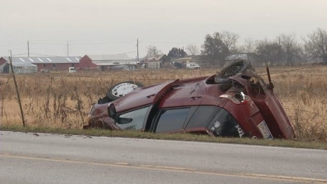 WEB EXTRA: Woman Injured In Broken Arrow Rollover Wreck