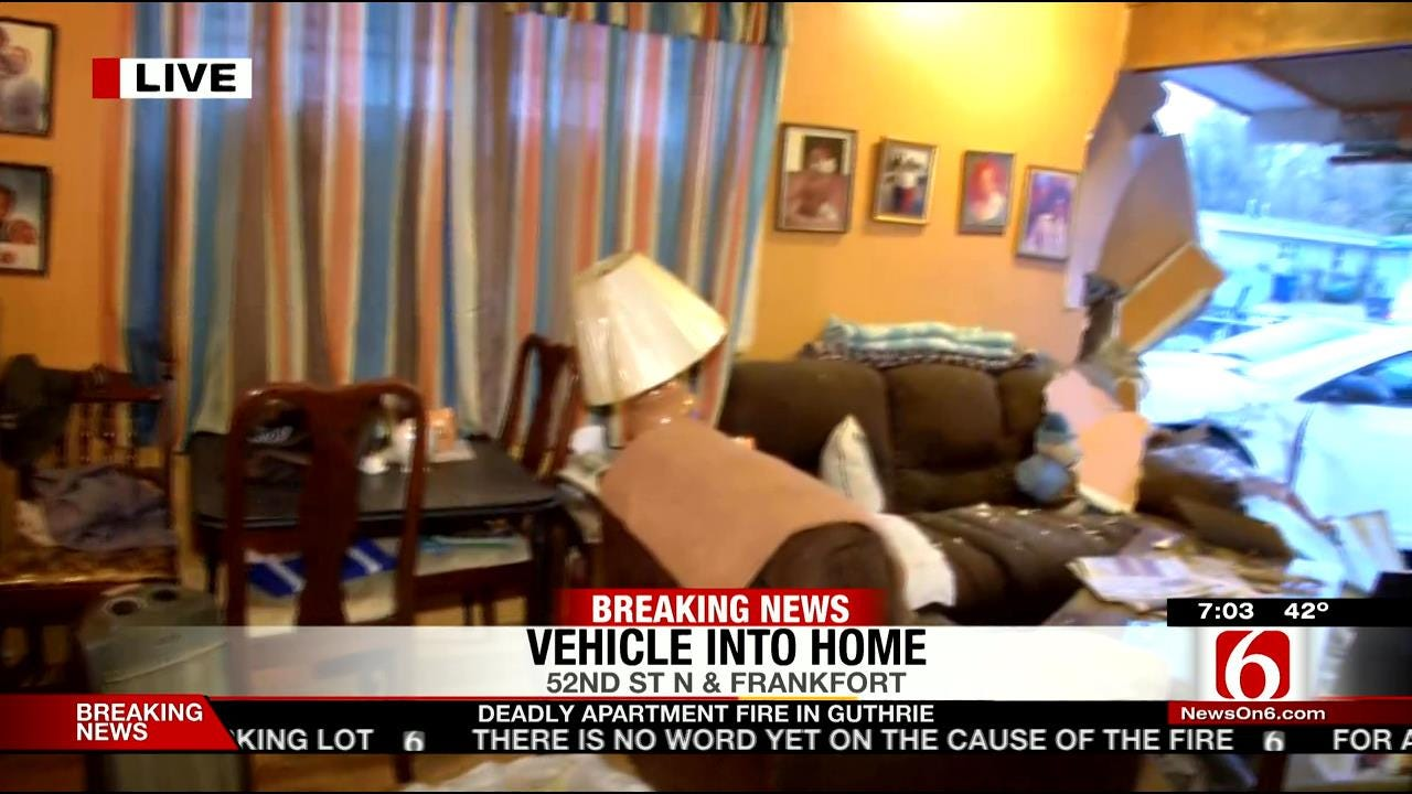 Vehicle Hits Tulsa Home Then Drives Away