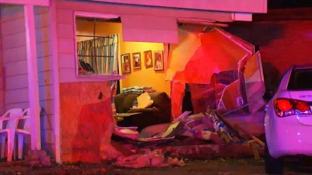 WEB EXTRA: Video From Scene Of Tulsa Home Hit By Vehicle