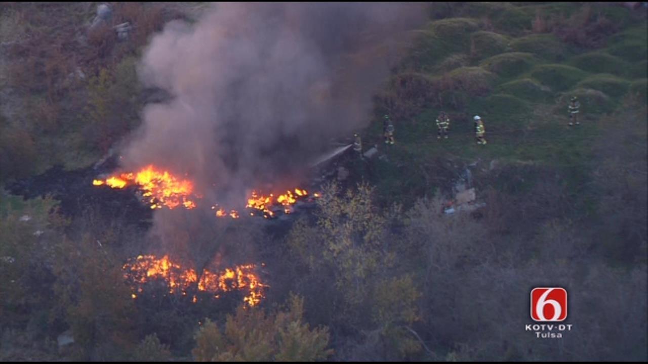 WEB EXTRA: Osage SkyNews 6 Flies Over Large Trash Fire