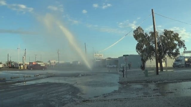 WEB EXTRA: Tulsa Water Main Break Geyser