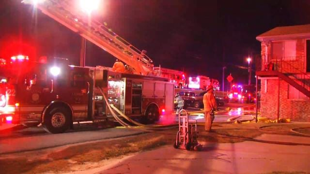WEB EXTRA: Video From Scene Of Fire At Tulsa's Riverbank Plaza Apartments