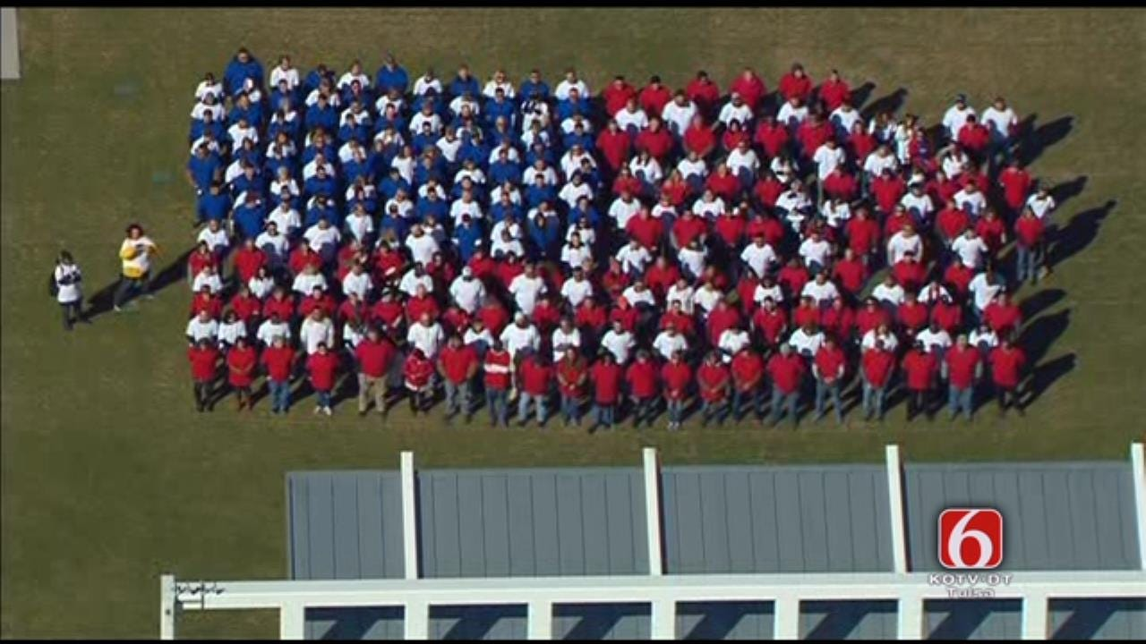 Osage SkyNews 6 HD: Human U.S. Flag Formed At Tulsa's Guthrie Green