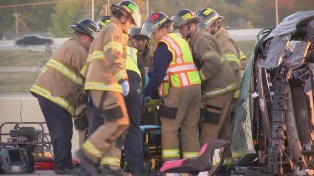 WEB EXTRA: Tulsa Emergency Crews Free Injured Woman From Overturned Car