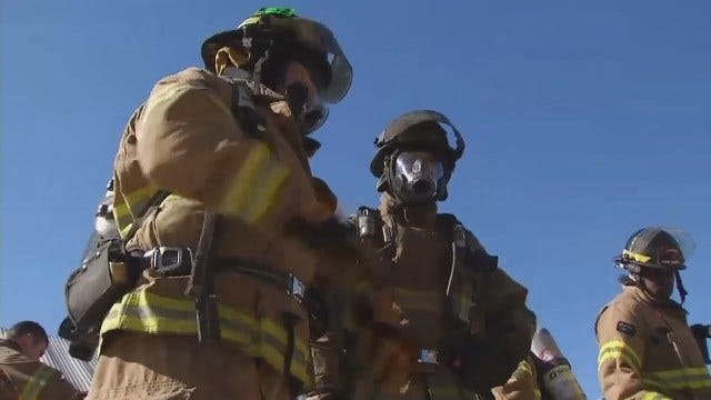 WEB EXTRA: Tulsa Firefighters Trying Out New Air Masks And Tanks