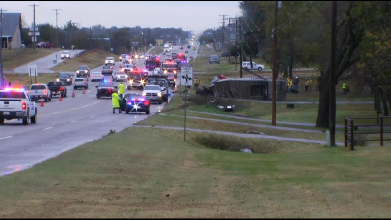 WEB EXTRA: Video Of Cattle Truck Crash South Of Bartlesville