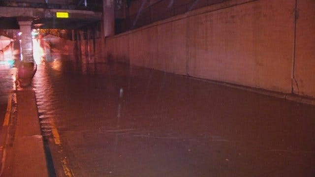 WEB EXTRA: Video Of High Water In Railroad Underpass On Lewis