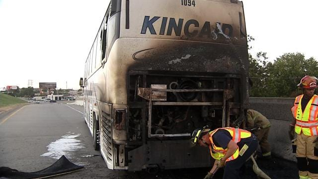 WEB EXTRA: Video From Scene Of Charter Bus Fire On The Broken Arrow Expressway