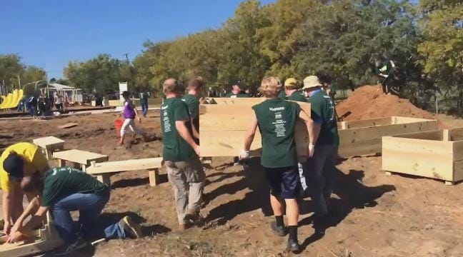 WEB EXTRA: Volunteers Build Playground At Wesley Chapel