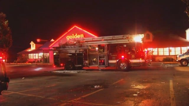 WEB EXTRA: Video From Fire Scene At Tulsa Golden Corral On Memorial