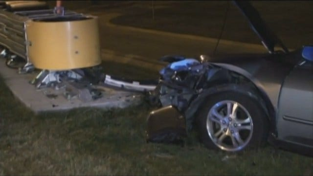 WEB EXTRA: Tulsa Man Arrested After Crashing Into Highway Sign