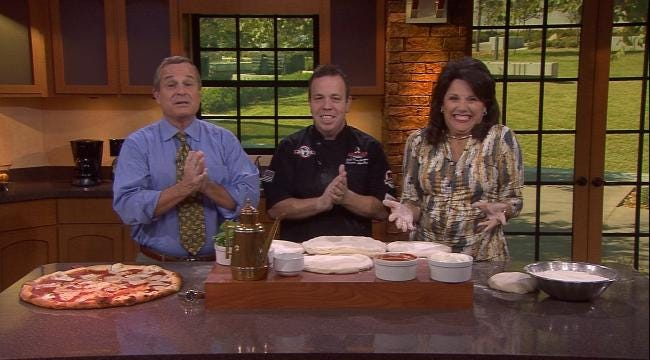 Six In The Morning Anchors Throw Pizza Dough With Andolini's