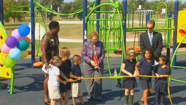 WEB EXTRA: Video Of Ribbon Cutting At Tulsa's Celia Clinton Elementary School New Playground
