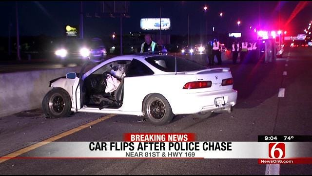 South Tulsa Police Chase Ends With Car On Its Side