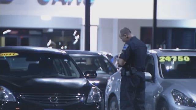 WEB EXTRA: Video Of Tulsa Police Investigate Vandalism At Car Dealerships