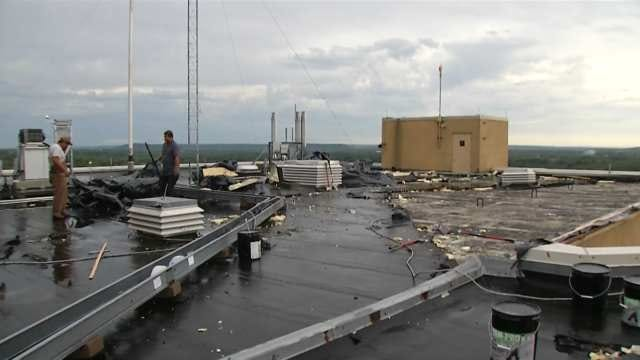 Bartlesville Medical Center Employees Cleaning Up Storm Damage