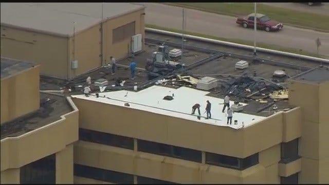 Osage SkyNews 6: Roof Damage At Bartlesvillle's Jane Phillips Medical Center