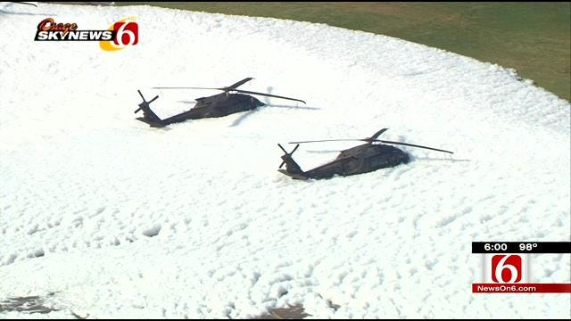 Tulsa's Army National Guard Base Accidentally Covered In Foam