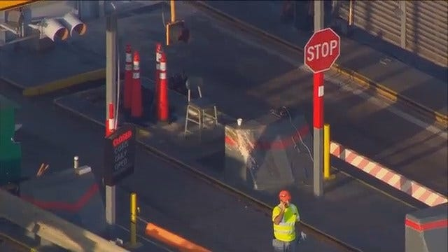 WEB EXTRA: Muskogee Turnpike Toll Booth Damage As Seen From Osage SkyNews 6