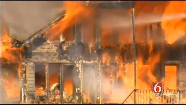 WEB EXTRA: Large South Tulsa Home Destroyed By Fire