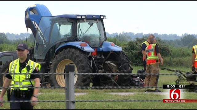 ODOT Mower, Three Cars Wreck On Highway 169 In Owasso