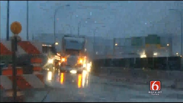 WEB EXTRA: VIdeo Of Disabled Semi On I-244/Highway 75 Bridge Over Arkansas River