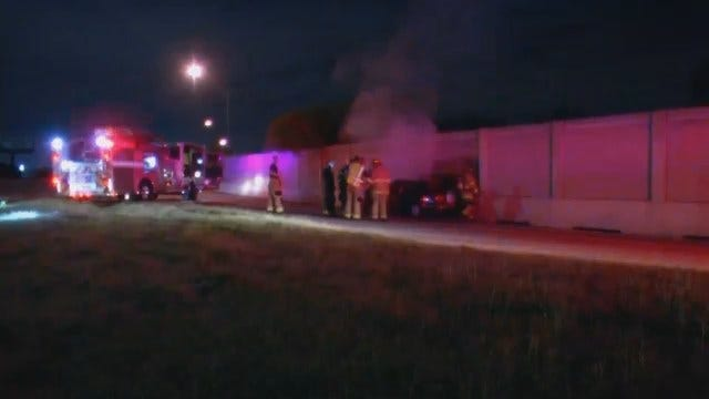 WEB EXTRA: Video From Scene Of Car Fire At Highway 169 And Broken Arrow Expressway