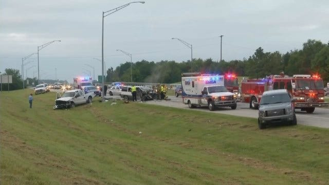 WEB EXTRA: Video From Scene Of Crash On Highway 75 North Of I-44 In Tulsa
