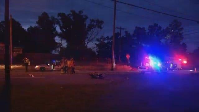 Motorcyclist Injured After Running Into Tulsa Police Car