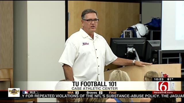 TU Coach Blankenship Teaches Football 101 Class