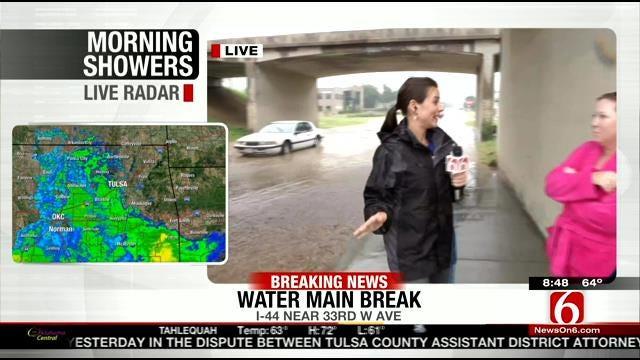 West Tulsa Water Line Break Strands Drivers In High Water