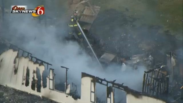 OHP: Four Arrested, Mobile Home Burns In Glenpool Theft Ring Bust