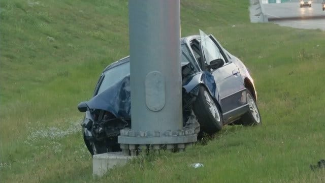 WEB EXTRA: Driver Hits Exit Sign On Interstate 44 Near Sheridan
