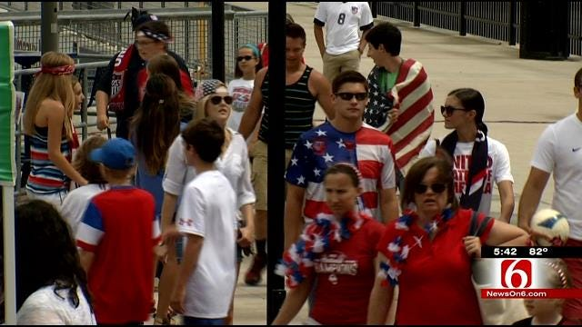 Downtown Tulsa Turns Red, White, Blue To Cheer On U.S. In World Cup