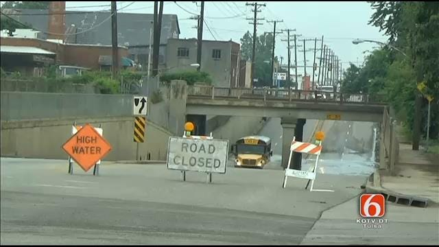 WEB EXTRA: Tulsa School Bus Drives Through High Water On Closed Road