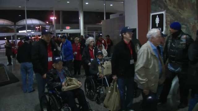 WEB EXTRA: Video Of Oklahoma Veterans Arriving At Tulsa International Airport
