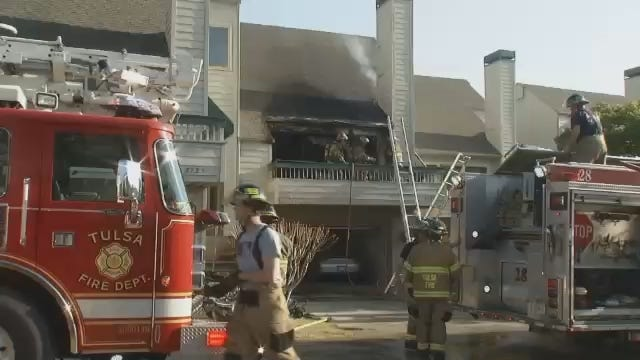 WEB EXTRA: Video From Scene Of Fire At East Tulsa Townhouse Complex