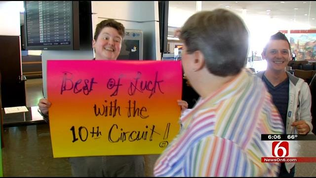 Marriage Equality Supporters See Tulsa Couple Off As Hearing Nears