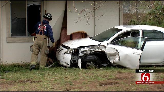 Car Slams Into Tulsa Home Near Gilcrease Road