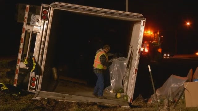 WEB EXTRA: Semi Dumps Load Of Watermelons In Rollover Wreck