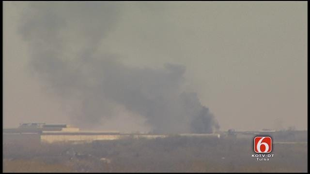WEB EXTRA: Large Fire Burning In Catoosa