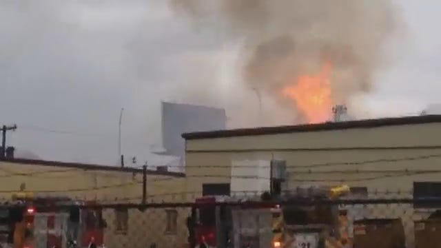 WEB EXTRA: Old Tulsa Feed Mill Destroyed By Fire