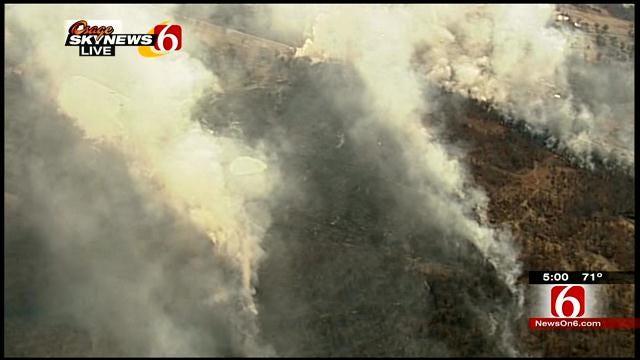 Dewey Firefighters Battle Grass Fire For Second Day